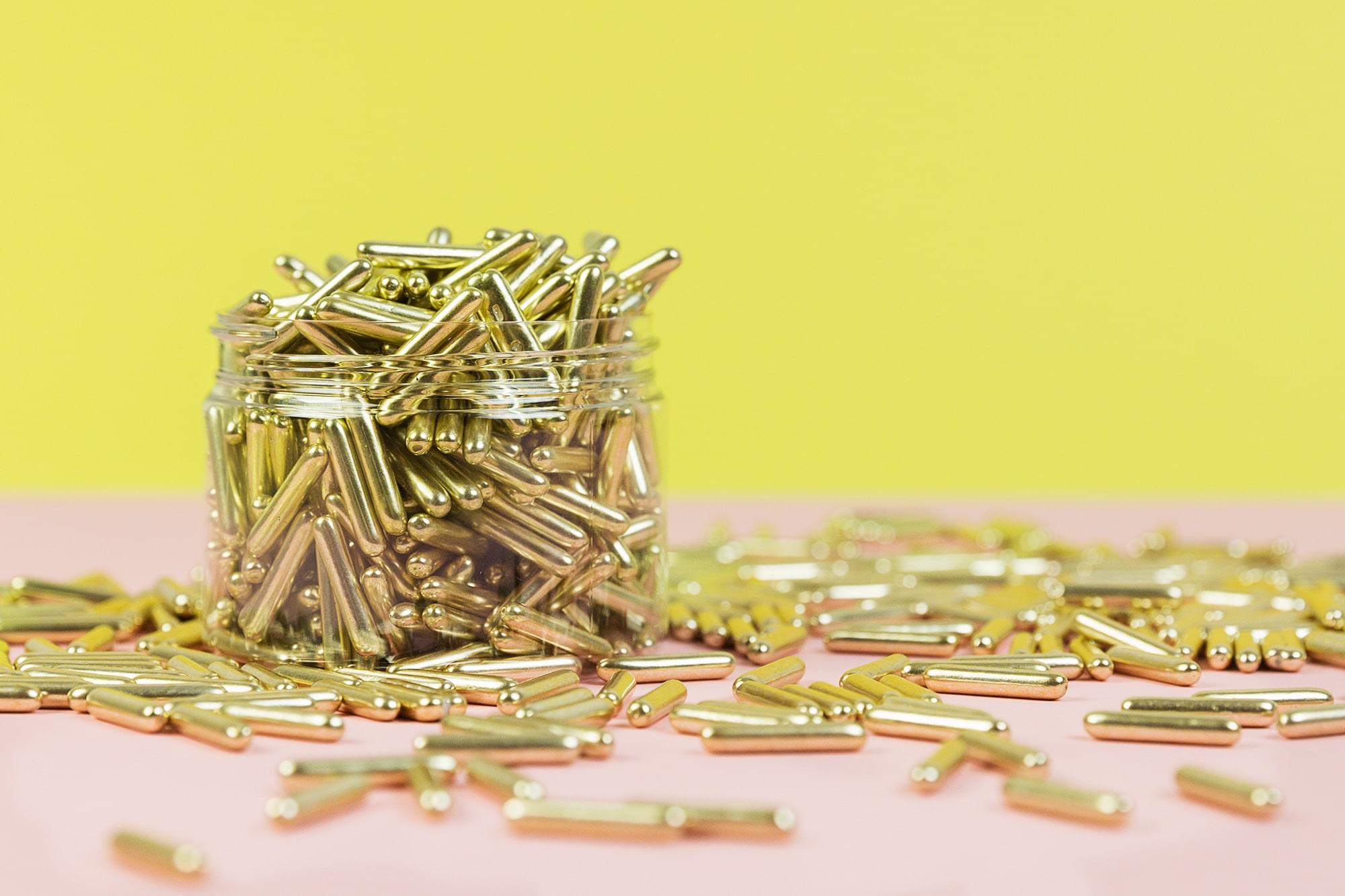Goldene Metallic-Sticks Zuckerstreusel von Lieblingsstreusel.com